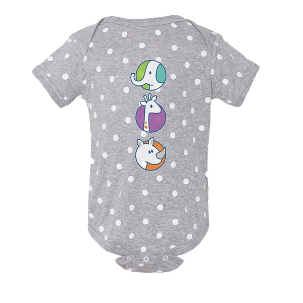 INFANT DOTTED ONESIE-STACKING ZOO ANIMALS