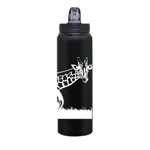 BLACK & WHITE GIRAFFE WATERBOTTLE
