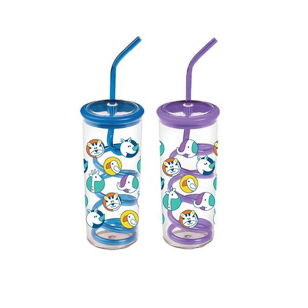 TWISTY STRAW CUP-STACKING ZOO PATTERN